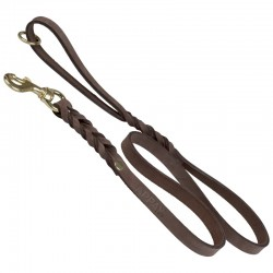 Leather leash, 15 mm wide, length 120 cm