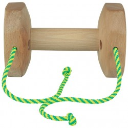 Wooden dumbbell with strings (wooden middle)